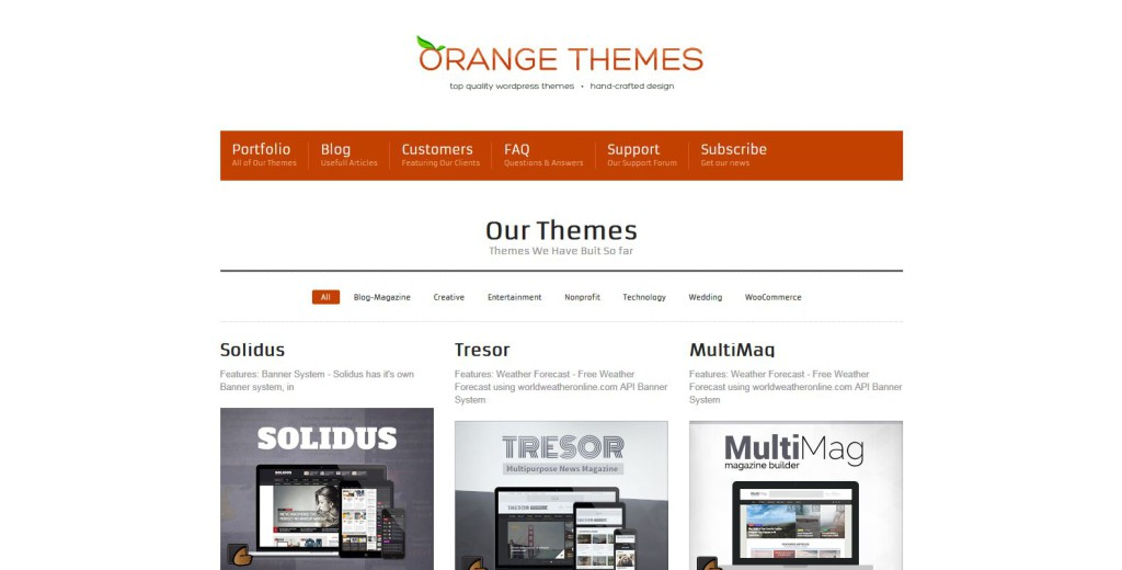 orange themes marketplace für premium wordpress themes