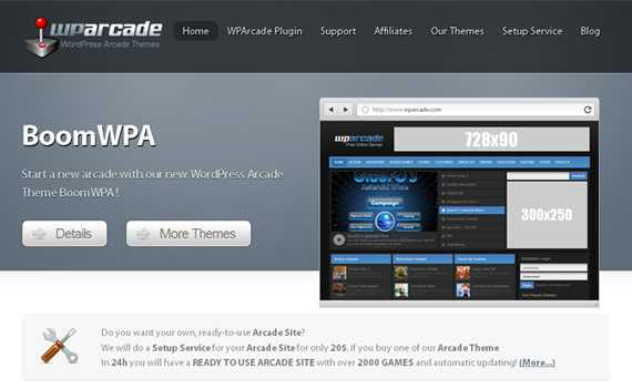 wparcade-marketplace für premium wordpress themes